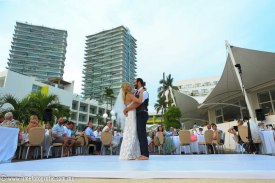 Hilton Puerto Vallarta Beach Wedding Pictures bride and groom first dance