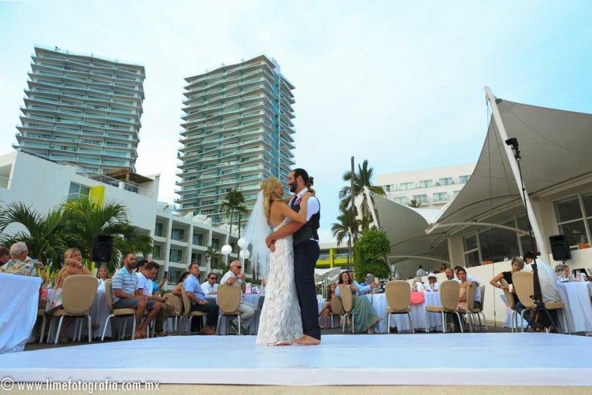 Hilton Puerto Vallarta Beach Wedding Pictures bride and groom first dance